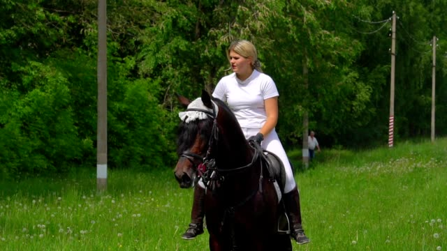 SLOW MOTION: A beautiful girl with white hair and white clothes brings up a black-and-brown stallion. The girl wants the horse to be more obedient when moving fast. Sunny summer day on a green glade. video