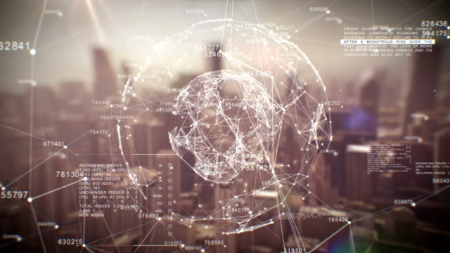 Beautiful Global Business Hologram. Loop Animation of Digital Sphere over Abstract City. Business and Technology Concept. Ultra HD. video