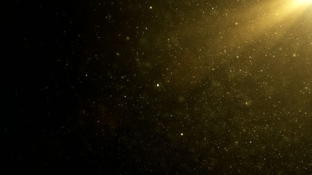 Beautiful Gold Floating Dust Particles with Flare on Black Background in Slow Motion. Looped 3d Animation of Dynamic Wind Particles In The Air With Bokeh.