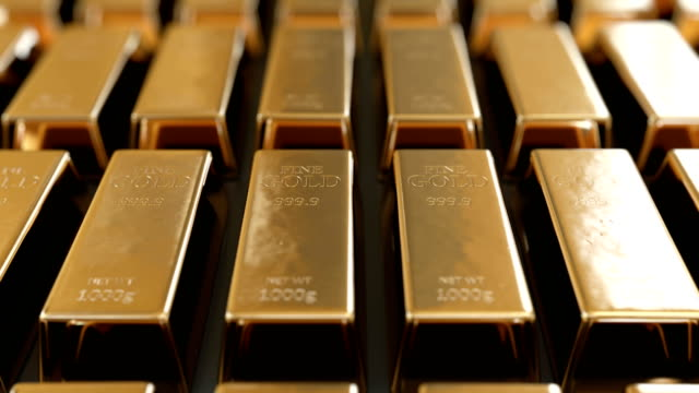 Beautiful Golden Bullions Laying in Rows with Bright Reflections Seamless. Looped 3d Animation of Gold Bars Glowing in Sun Shine. Banking and Wealth Concept.