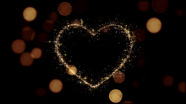 Beautiful Golden Heart Glittering. Looped 3d animation. Sparks Flying Slow. HD 1080. video