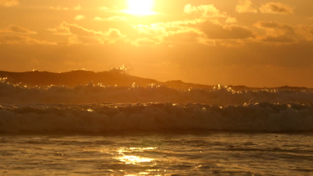 Beautiful golden ocean waves on sunset. Orange sunrise reflected at the sea water. Strong tide with waves splashes on a windy day at evening. Nature background Close up video