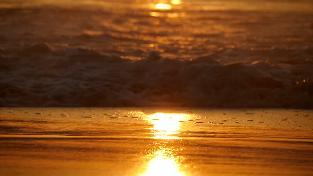 vídeos de stock e filmes b-roll de beautiful golden ocean waves on sunset. orange sunrise reflected at the sea water. tide with waves splashes on a windy day at evening. nature background close up slow motion - beira d'água