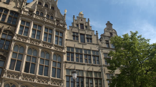 CLOSE UP: Beautiful golden statues on guildhalls at Great Market square, Antwerp video