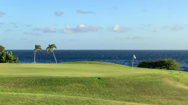 vídeos y material grabado en eventos de stock de hermoso campo de golf al atardecer en curazao - borde del agua