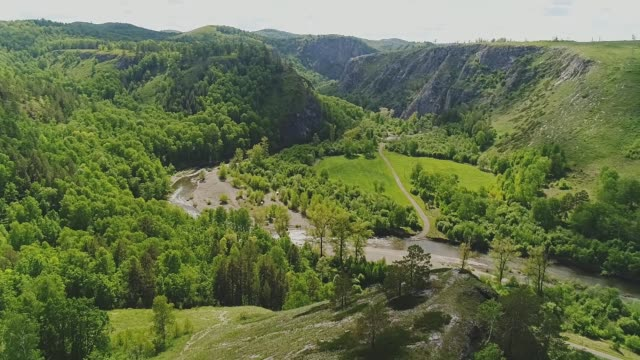 beautiful green mountains. natural scenery. beautiful view from the air - quadcopter filmów i materiałów b-roll