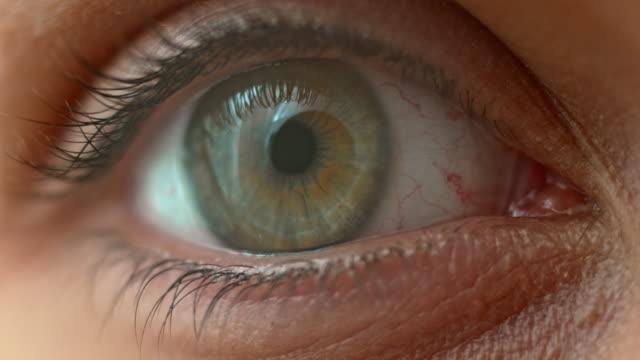 otwarcie ecu niebieskie oczy szerokim - wzrok filmów i materiałów b-roll