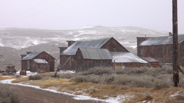 Beautiful hills and abandoned mining village getting covered in the fresh snow.