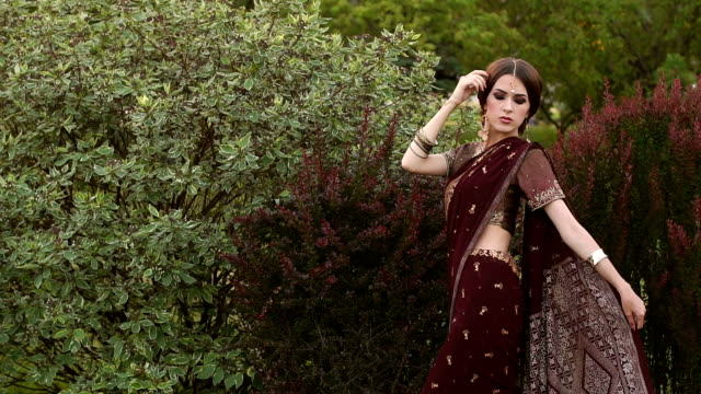 Beautiful hindu girl in traditional costume sari. video