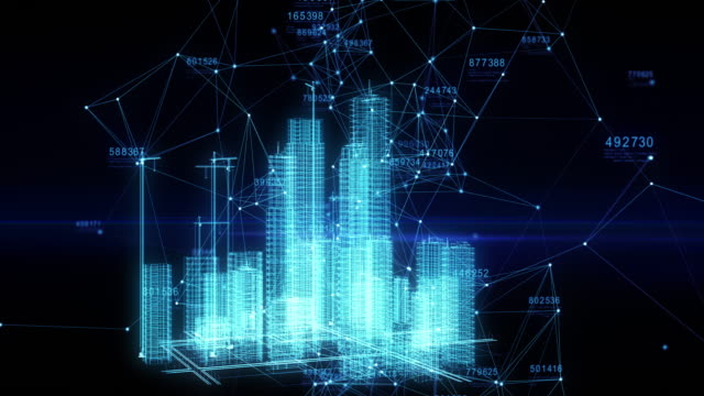 Beautiful Hologram of Growing Abstract Buildings in Cyberspace. Futuristic Technology Digital Urban Development. Business and Technology Concept.