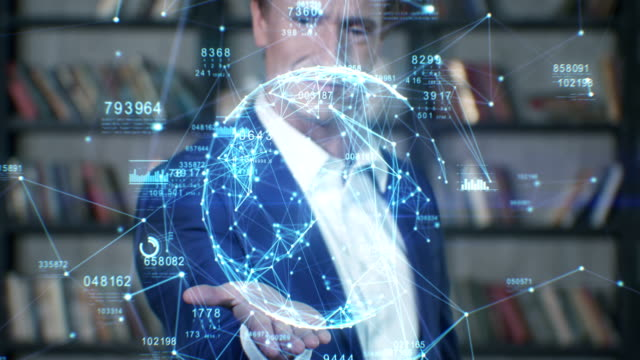 Beautiful Hologram Slow Motion Portrait Successful Businessman Working with Futuristic Technological Blue Hologram Analyzing Data. Business Concept. Businessman Series Beautiful Hologram Slow Motion Portrait Successful Businessman Working with Futuristic Technological Blue Hologram Analyzing Data. Business Concept. Businessman Series 4K UHD 4096x2160 3d animation. hologram stock videos & royalty-free footage