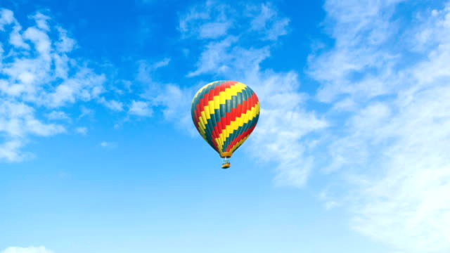 Beautiful Hot Air Balloon on a Cloudy Background Hot Air Balloon, Aerial View, Air Vehicle, Balloon, Basket hot air balloon stock videos & royalty-free footage