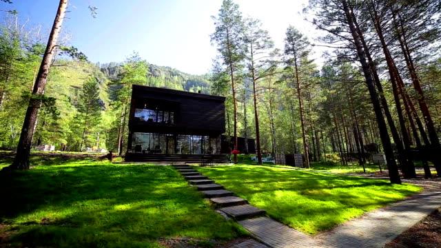 hermosa casa en un bosque de pinos, verde hierba, césped - vídeo