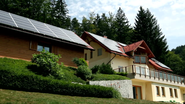 HD PANORAMA: Beautiful house with solar panels video