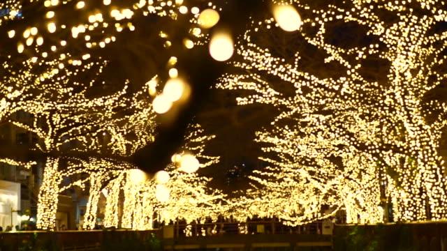 Beautiful illumination Christmas light in Tokyo, Japan at Nakameguro canal. Crowd walking around to celebrate Beautiful illumination Christmas light in Tokyo, Japan at Nakameguro canal. Crowd walking around to celebrate holiday lights stock videos & royalty-free footage