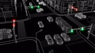 istock Beautiful Illustration of Modern City Crossroads with Traffic Lights Glowing and Driving Cars on the Road Blueprint Grid Style. Traffic Laws and Rules Concept 3d Animation. 1172571355