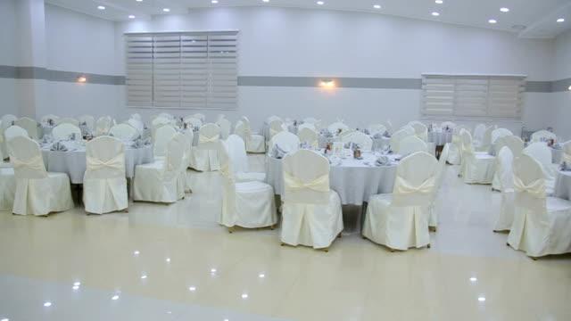A beautiful indoor wedding reception