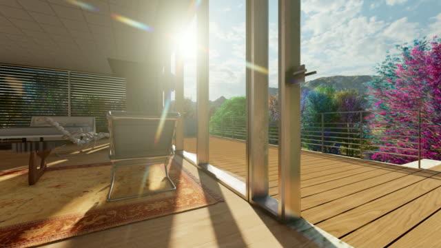 Beautiful interior in mountainous area Modern lounge modern house stock videos & royalty-free footage