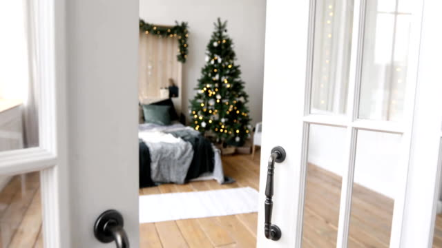 Beautiful interior of bedroom before Christmas video