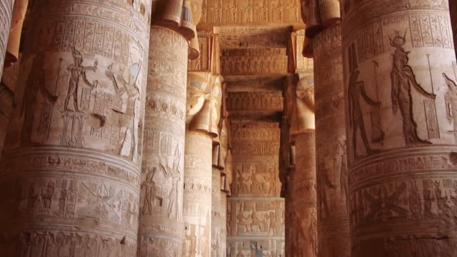 beautiful interior of the temple of dendera or the temple of hathor. egypt, dendera, ancient egyptian temple near the city of ken - египет стоковые видео и кадры b-roll