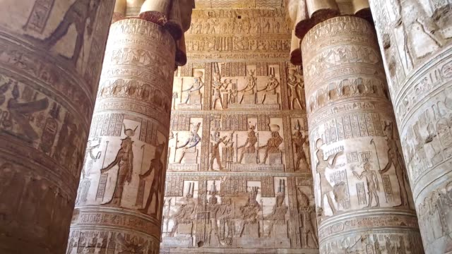 Beautiful interior of the temple of Dendera or the Temple of Hathor. Image of the ancient goddess of the sky Nut on the ceiling of the ancient Egyptian temple. Egypt, Dendera, near the city of Ken