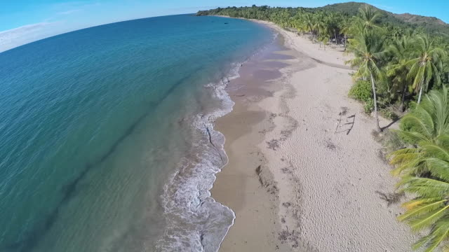 Beautiful islands of Madagascar Ariel footage of sandy beach of Nosy Bay, Madagascar, with coconut trees, traditional trees and kids playing around madagascar stock videos & royalty-free footage