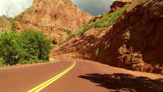 Beautiful Kolob Canyon red mountain drive POV HD video
