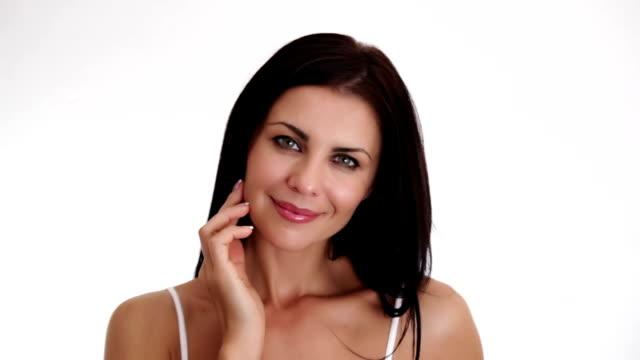 beautiful lady looking at camera - femininitet bildbanksvideor och videomaterial från bakom kulisserna