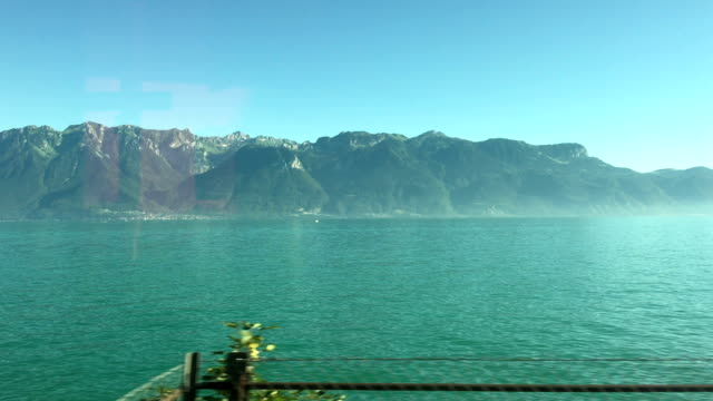 Beautiful lake view seen from moving train video