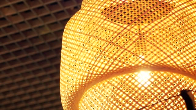 Beautiful lampshade with an incandescent lamp of warm light. Close-up