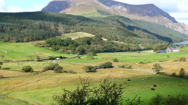 Bидео Beautiful landscape of Snowdonia with lake