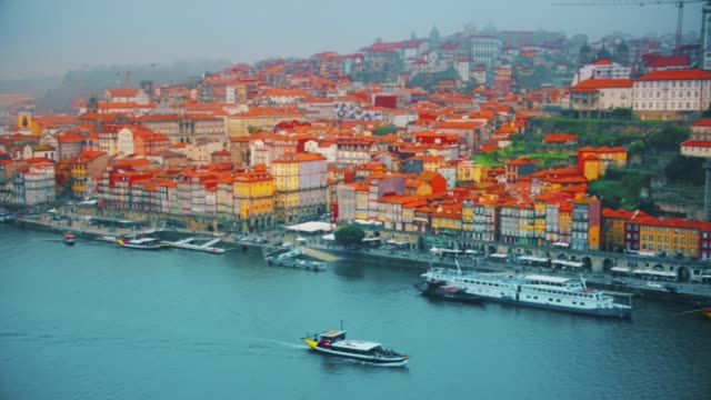 Beautiful landscape of the city of Porto Portugal. The ancient quarter of Ribeira and the river Douro