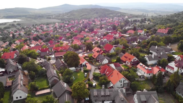 vidéos et rushes de beautiful landscape video of balaton lake and village in tihany, hungary by drone camera. - hongrie
