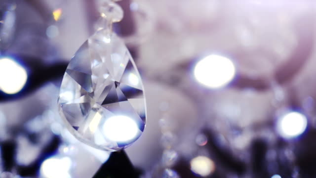 beautiful large oval shape crystal of a chandelier. - bling bling stok videoları ve detay görüntü çekimi