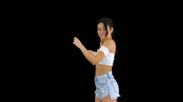 Beautiful Latin woman dancing, Alpha Channel