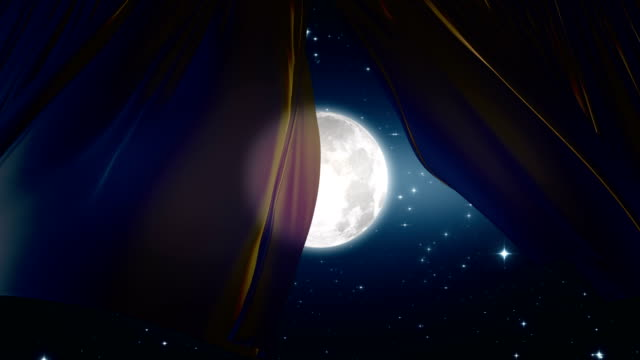 Video Beautiful Light Silky Curtains Waving in the Wind at the Night Sky, Moon Shine and Stars. 3d Animation with the Moonlight Through the Curtains.