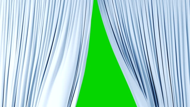 Beautiful Light Silky Curtains Waving in the Wind Revealing the Background. 3d Animation with Green Screen, Alpha Mask