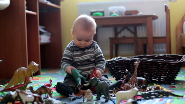 Beautiful little baby boy, toddler smiling at camera, animals and dinosaurs around him, indoor shot in kids playroom.