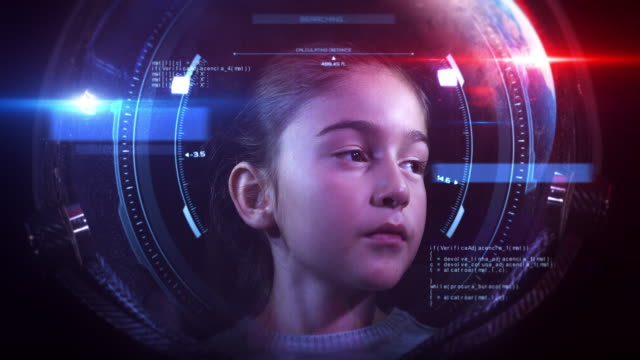 Beautiful Little Girl Astronaut In Space Helmet Looking At Camera - VFX