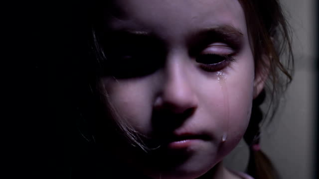 vídeos de stock e filmes b-roll de beautiful little girl crying, defenseless victim of kidnapping, child abuse - criminoso