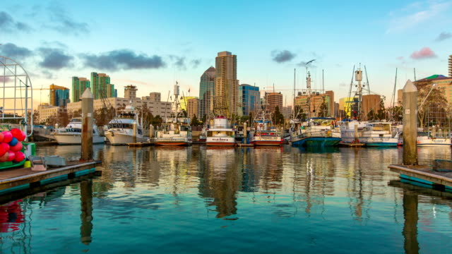 A Beautiful, Majestic Time-Lapse of the San Diego Docks With Gorgeous Reflections In The Bay. video
