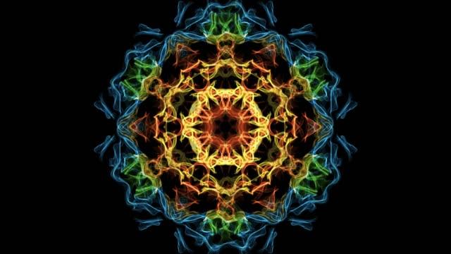 vacker mandala mångfärgade fractal, symmetriska mönster i cirkeln, röd, gul, orange, blå, grön - mandala bildbanksvideor och videomaterial från bakom kulisserna