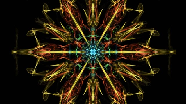 vídeos de stock e filmes b-roll de beautiful mandala multicolored fractal, symmetric patterns in circle, red, yellow, orange, blue, green rays on black background - mosaicos flores