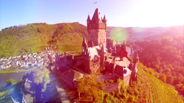 Beautiful medieval castle aerial, vine hills, German mid-ages fortress and river, fairy-tale royal castle with vine plants growing on green hills, aerial view with beauty lens flare, sunny day video