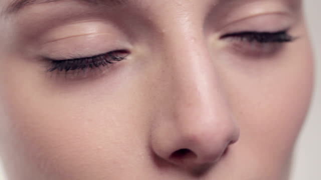 beautiful model eyes close-up video
