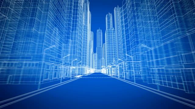 Schöne moderne Stadt bewegt sich durch die digitale 3D Blueprint Road View. Bau- und Technologiekonzept. Blaue Farbe 3d Animation Looped.  Kurze Version. – Video