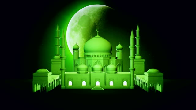beautiful mosque and big rotating moon on night star sky. ramadan kareem islamic motion background. 3d animation. - ramadan kareem стоковые видео и кадры b-roll