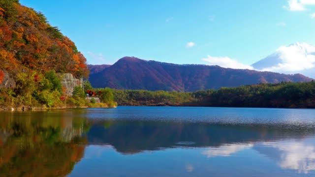 Beautiful Mountain fuji with maple in autumn season Japan video