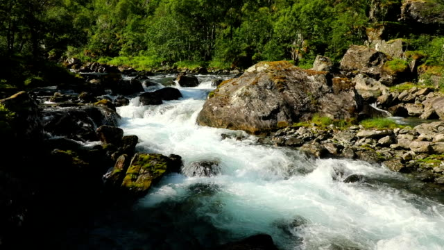 Beautiful mountain river near Trollstigen, Norway