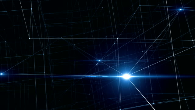 beautiful moving glowing signals inside growing network. abstract net of lines and dots with flying flares blue color. looped 3d animation business and technology concept. - atomo video stock e b–roll